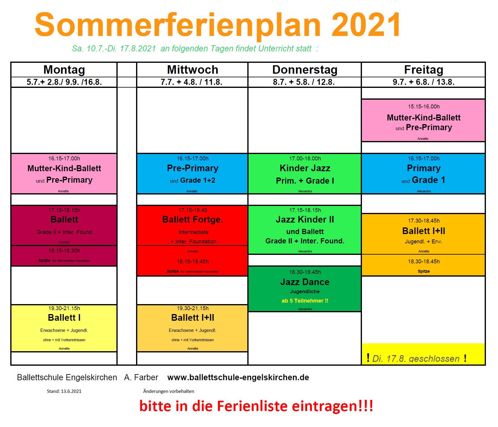 Stundenplan 2021
