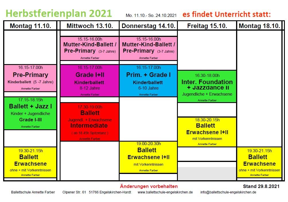 Stundenplan Herbstferien 2021